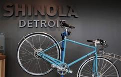 A Shinola three-speed bicycle, assembled in Detroit, is displayed at the recently opened luxury Shinola watch and bike store in midtown Detroit, Michigan July 22, 2013. REUTERS/Rebecca Cook