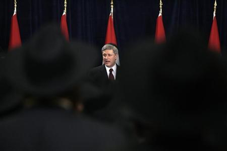 Canada's Prime Minister Stephen Harper speaks during a reception of the Canadian Federation of Chabad Lubavitch on Parliament Hill in Ottawa March 12, 2009. REUTERS/Christopher Pike