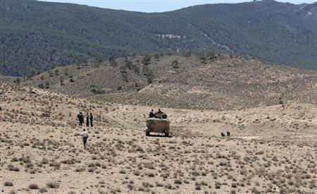 Tunisian soldiers patrol near the border with Algeria as seen from the area of Mount Chambi, west Tunisia June 11, 2013. REUTERS/Stringer