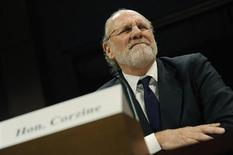 Former MF Global CEO Jon Corzine winces as he testifies before a House Financial Services Committee Oversight and Investigations Subcommittee hearing on the collapse of MF Global, at the U.S. Capitol in Washington, December 15, 2011. REUTERS/Jonathan Ernst