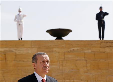 Turkey's Prime Minister Tayyip Erdogan leaves after a wreath-laying ceremony at the mausoleum of Mustafa Kemal Ataturk, founder of modern Turkey, in Ankara August 1, 2013. REUTERS/Umit Bektas