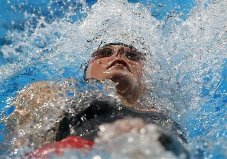 Missy Franklin of the U.S. swims in the women's 200m backstroke semi-final during the World Swimming Championships at the Sant Jordi arena in Barcelona August 2, 2013. REUTERS/Albert Gea