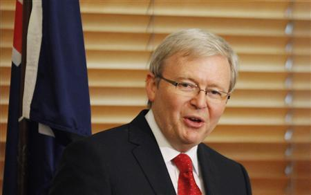 Then Australia's former Prime Minister Kevin Rudd speaks during a news conference at Parliament House in Canberra in this February 27, 2012 file photo. REUTERS/Daniel Munoz/Files