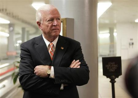 U.S. Senate Intelligence Committee vice chairman Senator Saxby Chambliss (R-GA) leaves after former CIA Director David Petraeus testified at a closed hearing on Capitol Hill in Washington November 16, 2012. REUTERS/Yuri Gripas/Files