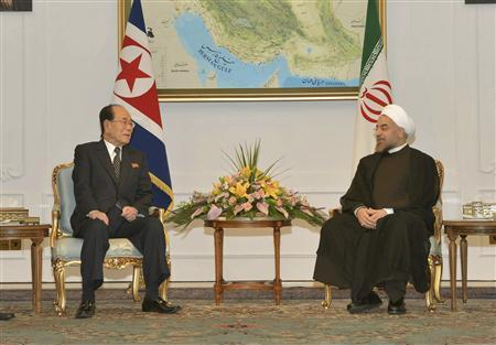 Kim Yong-nam (L), president of the Presidium of the North Korean Supreme People's Assembly (SPA), meets Iran's President Hassan Rouhani August 3, 2013 in this photo released by North Korea's Korean Central News Agency (KCNA) August 4, 2013. REUTERS/KCNA