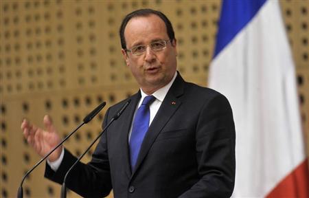 France's President Francois Hollande speaks during a news conference after the leaders meeting of the 'Brdo Process' in Brdo, near Kranj, July 25, 2013. REUTERS/Srdjan Zivulovic