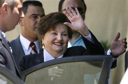 Lucia Hiriart, the widow of Former Chilean dictator Augusto Pinochet, waves after a commemorative mass at the military church in Santiago December 10, 2007. REUTERS/Ivan Alvarado