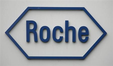 The logo of Swiss pharmaceutical company Roche is pictured on the company's headquarters in Basel February 4, 2009. REUTERS/Christian Hartmann