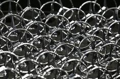 Emblems of German car Mercedes-Benz are pictured during a news conference about the new production line of the Mercedes-Benz S-class in Sindelfingen near Stuttgart, June 12, 2013. REUTERS/Michaela Rehle