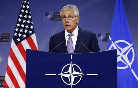 Defense Secretary Chuck Hagel addresses a news conference during a NATO defence ministers meeting at the Alliance headquarters in Brussels June 5, 2013. REUTERS/Francois Lenoir