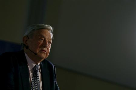 George Soros, Chairman of Soros Fund Management LLC addresses the audience during an economic speech in Frankfurt April 9, 2013, on the topic 'How to save the European Union from the euro crisis.' REUTERS/Ralph Orlowski