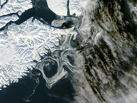 Sea ice of Greenland is pictured as captured by the MODIS instrument on NASA's Aqua satellite in this October 16, 2012 handout photo. REUTERS/NASA/GSFC/Jeff Schmaltz/MODIS Land Rapid Response Team/Handout