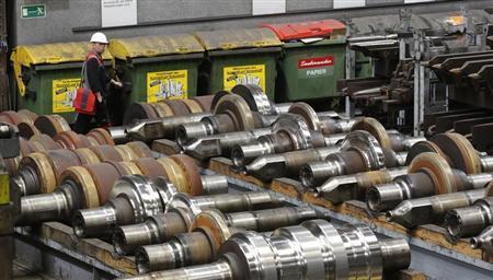 A worker walks in the plant of steelmaker Voestalpine in Donawitz, May 6, 2013. REUTERS/Leonhard Foeger