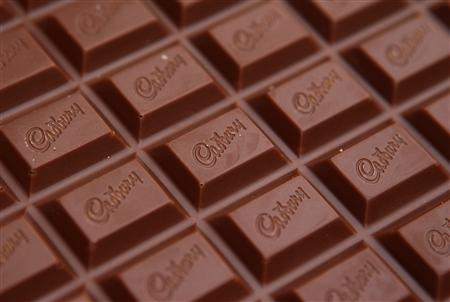 The Cadbury name is seen on a bar of Dairy Milk chocolate in this photo Illustration taken in Manchester, northern England, on January 19, 2010. REUTERS/Phil Noble