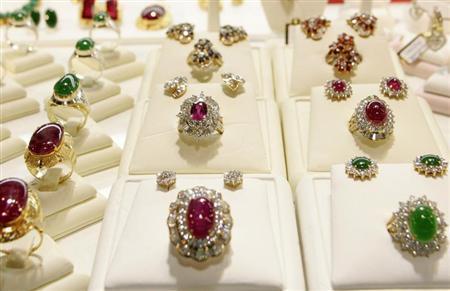 Rings are displayed at a jewelry fair in Bangkok October 11, 2007. REUTERS/Arthur Jones Dionio