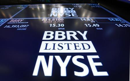 The Blackberry ticker is displayed on a screen at the post that trades the stock on the floor of the New York Stock Exchange, February 15, 2013. REUTERS/Brendan McDermid