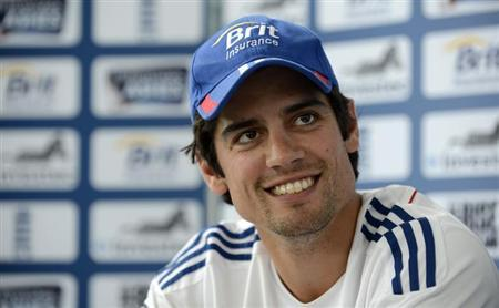 England's captain Alastair Cook pictured during a news conference before the fourth Ashes cricket test match against Australia at the Riverside cricket ground in Chester-le-Street near Durham August 8, 2013. REUTERS/Philip Brown