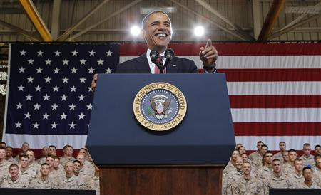 U.S. President Barack Obama speaks at Marine Corps Base-Camp Pendleton in California, August 7, 2013. REUTERS/Larry Downing
