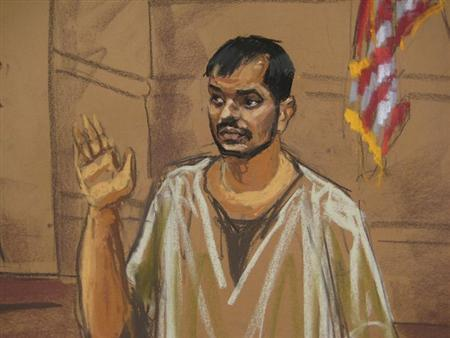 Quazi Mohammad Rezwanul Ahsan Nafis appears in court in New York, February 7, 2013, in this courtroom sketch. REUTERS/Jane Rosenberg