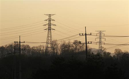 Power transmission towers supplying electric power to the inter-Korean Kaesong Industrial Complex from South Korea, are seen at the customs, immigration and quarantine (CIQ) office, just south of the demilitarized zone separating North Korea from South Korea in Paju, north of Seoul April 29, 2013. REUTERS/Lee Jae-Won