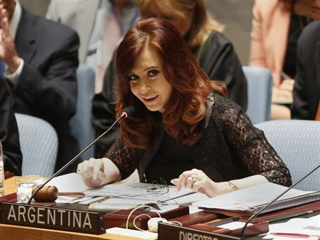 Argentina's President Cristina Fernandez de Kirchner speaks during a Security Council meeting at the United Nations in New York August 6, 2013. REUTERS/Shannon Stapleton