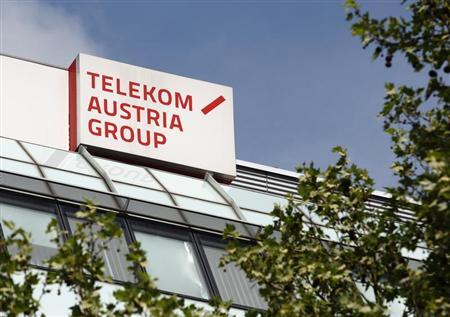 The logo of Telekom Austria is pictured at its headquarters in Vienna May 8, 2013. REUTERS/Heinz-Peter Bader