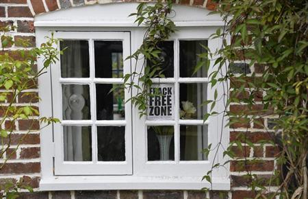 A sign that reads ''Frack Free Zone'' is displayed in the window of a house in the village of Balcombe in southern England July 31, 2013. REUTERS/Toby Melville