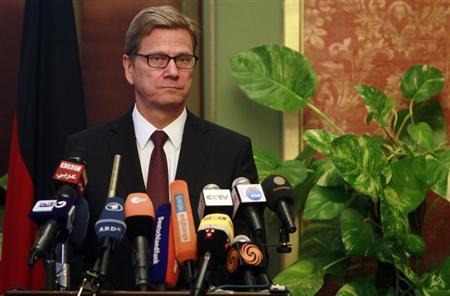 German Foreign Minister Guido Westerwelle looks on during a news conference with Egypt's interim Foreign Minister Nabil Fahmy in Cairo August 1, 2013. REUTERS/Mohamed Abd El Ghany