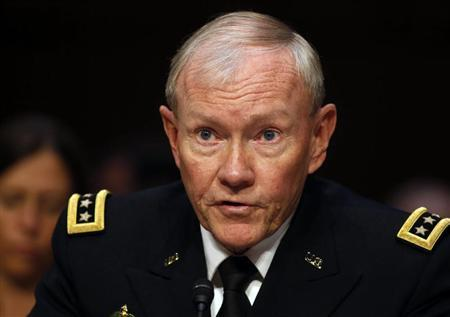Chairman of the Joint Chiefs General Martin Dempsey testifies about pending legislation regarding sexual assaults in the military at a Senate Armed Services Committee on Capitol Hill in Washington, June 4, 2013. REUTERS/Larry Downing