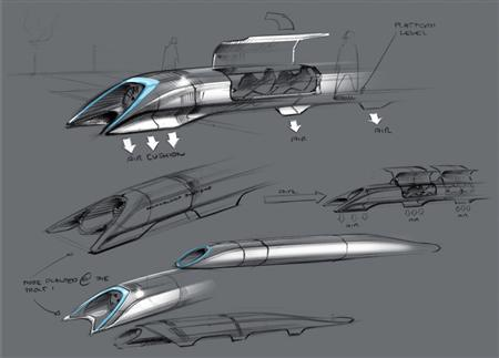A sketch of billionaire U.S. entrepreneur Elon Musk's proposed ''Hyperloop'' transport system is shown in this publicity image released to Reuters August 12, 2013 by Tesla Motors. The Hyperloop, which Musk previously described as a cross between a Concorde, rail gun and air-hockey table, will be solar powered and move passengers and even automobiles at speeds of up to 800 miles per hour, according to the 57-page design plan. REUTERS/Nick Kincade/Tesla Motors/Handout via Reuters