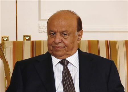 Yemeni President Abd-Rabbu Mansour Hadi looks on during a meeting with U.S. Treasury Secretary Jack Lew (not pictured), in Washington, July 29, 2013. REUTERS/Jason Reed