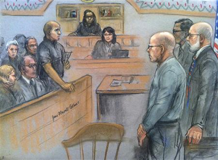James ''Whitey'' Bulger (front, R) listens to the verdict in his murder and racketeering trial as seen in this courtroom drawing in Boston August 12, 2013. REUTERS/Jane Collins