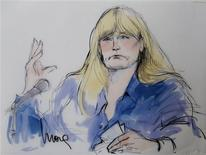 A courtroom sketch depicting the testimony of Debbie Rowe, ex-wife of singer Michael Jackson, is pictured during Katherine Jackson's negligence suit against AEG Live, at Los Angeles Superior Court in Los Angeles, California August 14, 2013. REUTERS/Mona Edwards