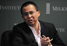 "Richard Li, the president and chief executive of Pacific Century Group, participates in the ""A Conversation With Richard Li of Pacific Century Group: An Eastern Investor Turns West"" panel at the 2010 Milken Institute Global Conference in Beverly Hills, California April 27, 2010. REUTERS/Phil McCarten"