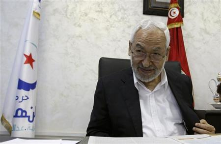 Rached Ghannouchi, leader of the Islamist Ennahda movement, speaks during an intervew with a Reuters journalist in Tunis August 5, 2013. REUTERS/Zoubeir Souissi