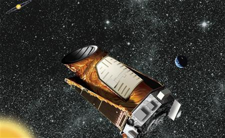 An artist's composite of the Kepler telescope is seen in this undated NASA handout image. Two of Kepler's four gyroscope-like reaction wheels, which are used to precisely point the spacecraft, have failed and NASA reported on August 15, 2013, that it is ending attempts to fully recover the spacecraft. REUTERS/NASA/Handout via Reuters