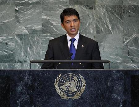 Madagascar's President Andry Nirina Rajoelina addresses the 66th United Nations General Assembly at U.N. headquarters, in New York, September 23, 2011. REUTERS/Chip East