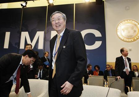 Governor of the People's Bank of China (PBOC) Zhou Xiaochuan (C) arrives at the International Monetary and Financial Committee (IMFC) meeting during the Spring Meeting of the IMF and World Bank in Washington, April 20, 2013. REUTERS/Yuri Gripas