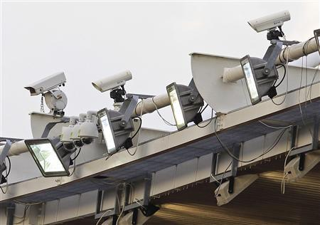 Hawk-Eye equipment is positioned on the roof during the Hampshire FA Senior Cup Final between Eastleigh and AFC Totton at St Mary's stadium in Southampton, southern England May 16, 2012. REUTERS/Eddie Keogh