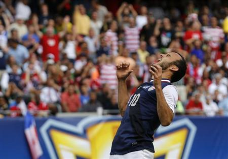 Landon Donovan of the U.S. yells after missing a scoring attempt against Panama during the second half of the CONCACAF Gold Cup soccer final in Chicago, Illinois, July 28, 2013. REUTERS/Jim Young