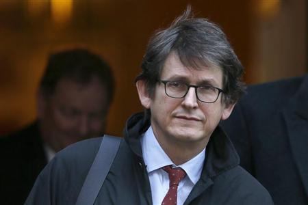 The editor of The Guardian Alan Rusbridger leaves Downing Street in London, December 4, 2012. REUTERS/Stefan Wermuth