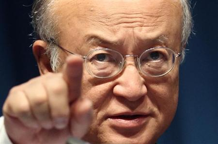 International Atomic Energy Agency (IAEA) Director General Yukiya Amano gestures during a conference on nuclear safety at the IAEA headquarters in Vienna July 1, 2013. REUTERS/Heinz-Peter Bader