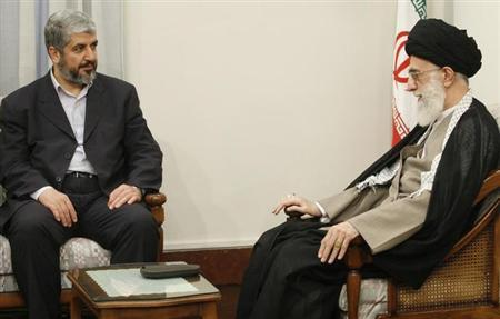 Iran's Supreme Leader Ayatollah Ali Khamenei (R) speaks with Hamas leader Khaled Mashaal during a meeting in Tehran May 27, 2008. REUTERS/Stringer/Files
