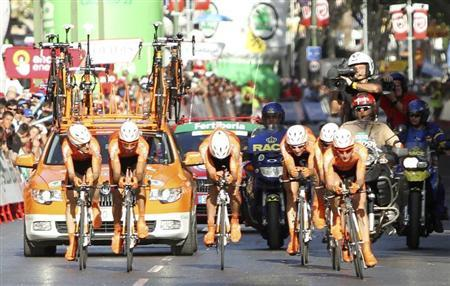Euskaltel-Euskadi's riders cycle during the first stage of the Tour of Spain ''La Vuelta'' cycling race, a 13,5 km team time trial, in Benidorm August 20, 2011. REUTERS/Miguel Vidal