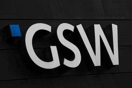 The logo of the GSW property firm is seen at its headquarters in Berlin, August 20, 2013. REUTERS/Thomas Peter