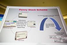 A board showing how a penny stock fraud scheme was run is seen before the announcement of the indictment of nine individuals for involvement in the scheme in New York, August 13, 2013. REUTERS/Lucas Jackson