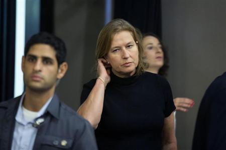 Israel's Justice Minister Tzipi Livni, the Israeli cabinet minister responsible for efforts to restart Palestinian talks, arrives to a special cabinet meeting in Jerusalem, in commemoration of the 100th anniversary of the birth of late Israeli Prime Minister Menahem Begin July 21, 2013. REUTERS/Uriel Sinai/Pool