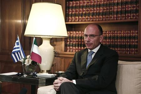 Italy's Prime Minister Enrico Letta meets with his Greek counterpart Antonis Samaras (not pictured) in Athens July 29, 2013. Letta is on a two-day working visit to Athens. REUTERS/Yorgos Karahalis