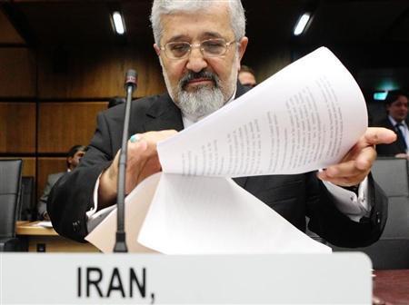 Iran's International Atomic Energy Agency (IAEA) ambassador Ali Asghar Soltanieh sorts documents before an IAEA meeting in Vienna June 5, 2013. REUTERS/Heinz-Peter Bader