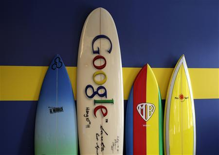 Surfboards lean against a wall at the Google office in Santa Monica, California, October 11, 2010. Google will report its third-quarter earnings on Thursday. REUTERS/Lucy Nicholson